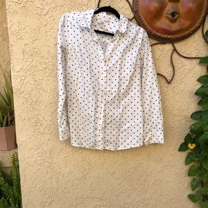 Black and white polka dot buttons down
